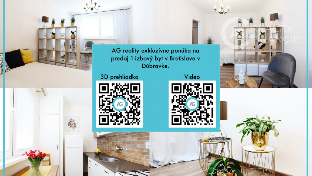 AG reality I na predaj - slnečný a vkusne zariadený 1 izbový byt so samostatnou kuchyňou v Dúbravke